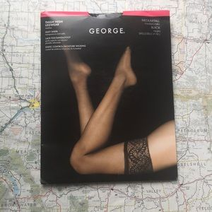 NWT George, Thigh High Black Pantyhose, Black
